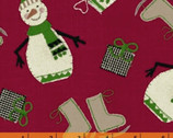 Craft Paper Christmas - Happy Snowmen Red by Whistler Studios from Windham Fabrics