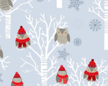 Snow Delightful - Owls Trees Blue Gray by Natalie Alex from Studio E