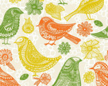 Summer Skies - Cream Retro Birds by Jenean Morrison from 3 Wishes Fabric