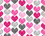 Adore - Small Hearts Pink Grey from Henry Glass