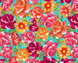 Festive Sugar Skulls - Roses from David Textiles