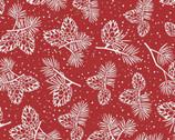 Santa's Stash - Pinecones and Pine Needles Red from Patrick Lose Fabrics