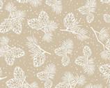 Santa's Stash - Pinecones and Pine Needles Beige from Patrick Lose Fabrics