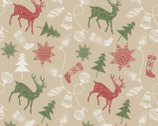 Santa's Stash - Reindeer and Ornaments Beige from Patrick Lose Fabrics