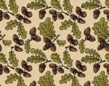 Autumn Palette - Acorns and Oak Leaves Moss from Patrick Lose Fabrics