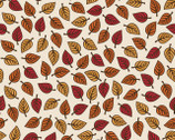 Autumn Palette - Small Leaves Ivory from Patrick Lose Fabrics