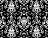 Happy Halloween - Damask Black from Patrick Lose Fabrics