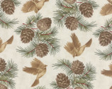 Midnight Clear - Birds Pine Starlight Natural by 3 Sisters from Moda