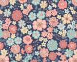 Flo's Little Flowers - Blooms Navy from Lewis and Irene