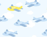 Dreamtime Nursery FLANNEL - Airplanes Blue from David Textiles