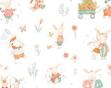 Bunny Tales FLANNEL - Bunnies Outdoor Activities White from Studio E