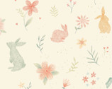 Bunny Tales FLANNEL - Bunny Field Peach from Studio E