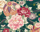 Maiko - Metallic Flower Teal Satin from Cosmo