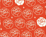 Tall Tales - Stamped Rose Tomato by Arleen Hillyer from Birch Fabrics