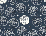Tall Tales CANVAS - Stamped Rose Dusk by Arleen Hillyer from Birch Fabrics
