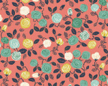 The Hidden Garden - Roses Coral by Miriam Pos from Birch Fabrics