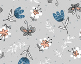 Cats Meow - Floral Light Grey from Fabric Editions