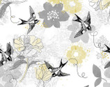 Marbella - Bird Floral Allover Grey from Fabric Editions