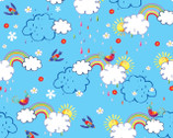 Color Me Fun - Clouds Rainbow Blue from Fabric Editions