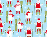 Frosty Friends - Polar Bear Skiing Sky Blue by Andie Hanna from Robert Kaufman