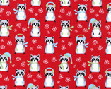 Frosty Friends - Raccoons Red by Andie Hanna from Robert Kaufman
