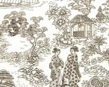 Zen Oasis - Geisha Scenic Toile Cream from Timeless Treasures