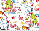 Our House - Drawings White from Michael Miller