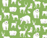 Nordic Holiday - Animals Green White by Amanda Murphy from Contempo Studio