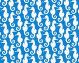 Reef - Seahorse Blue by Elizabeth Hartman from Robert Kaufman