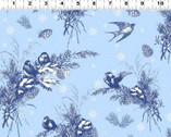 A Winter's Tale - Navy Birds  from Clothworks