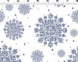 A Winter's Tale - Snowflake Navy on White from Clothworks