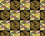 Koi - Metallic Koi Cloud Tile Black Gold by Hyakka Ryoran from Quilt Gate