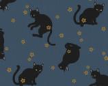 Neko - Metallic Cats Blue by Hyakka Ryoran from Quilt Gate