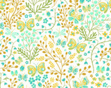 Garden Delights II - Floral Butterflies Gold Turquoise from In The Beginning