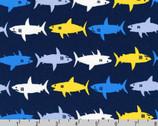 Sevenberry Mini Prints - Sharks Navy by Sevenbery from Robert Kaufman
