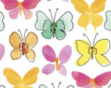 Happy Meadow - Butterfly White from 3 Wishes Fabric