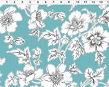 Lilliana - Aqua Teal Floral by Skipping Stones Studio from Clothworks