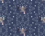 A Countryside Winter - Snowflake Scene Midnight Blue from Lewis and Irene