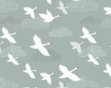 Down by the River - Swans in Flight Pale Grey Blue from Lewis and Irene