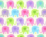 Colorful Pastel Elephants FLANNEL from EE Schenck