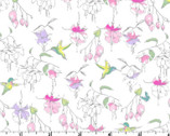 Fuchsias Hummingbirds Pastel Outline White by Barb Tourtillotte  from Clothworks