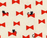 Animal World CANVAS - Bone and Dogs Bowtie Cats Red Natural from Kokka