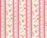 Princess Rose - Rose Trellis Stripe Pink Coral from Lecien