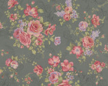 Antique Rose - Big Bouquet Dusty Blue Gray from Lecien