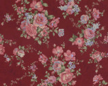 Antique Rose - Big Bouquet Deep Red from Lecien