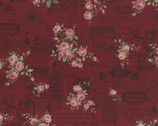 Antique Rose - Rose Words Cranberry Red from Lecien