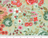 Meraki - Nefertari Feldspar Light Green Florals by BasicGrey from Moda