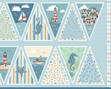 Beachcombers - Bunting PANEL Blue from Andover-Makower