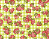Country Cuisine - Checkered Strawberries Green by Isabelle Biche from Henry Glass