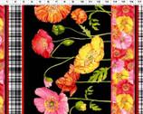 Poppy Garden - Poppy Border Black from Clothworks